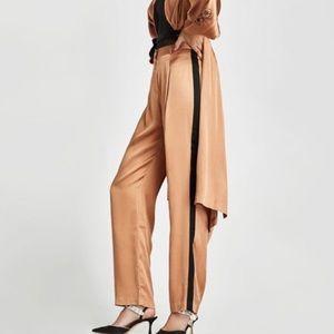 Zara Pink Satin Black Side Stripe Cigar Trousers